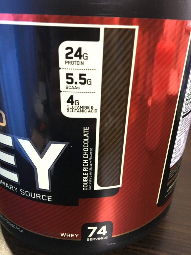 iherbで購入したゴールドスタンダードプロテインの栄養成分表示