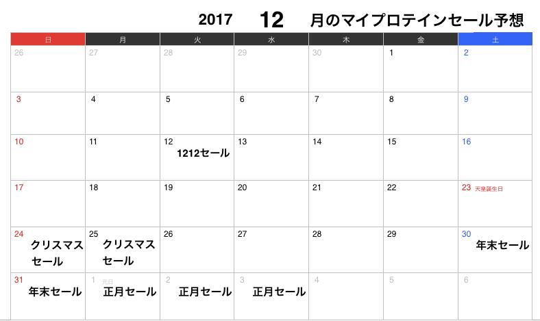 2017年12月のマイプロテインセール予想カレンダー