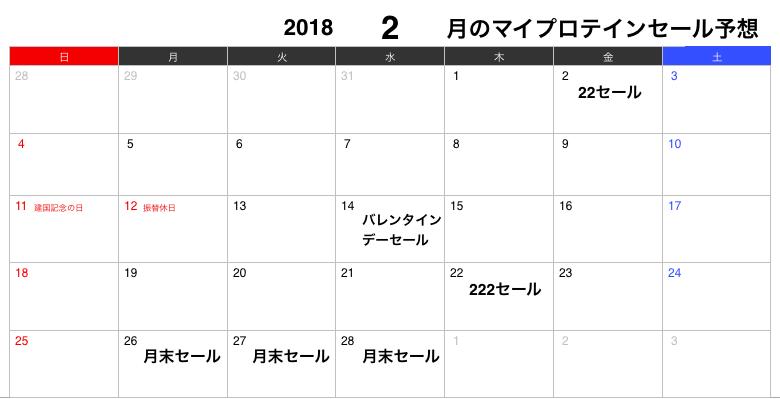 2018年2月のマイプロテインセール予想カレンダー