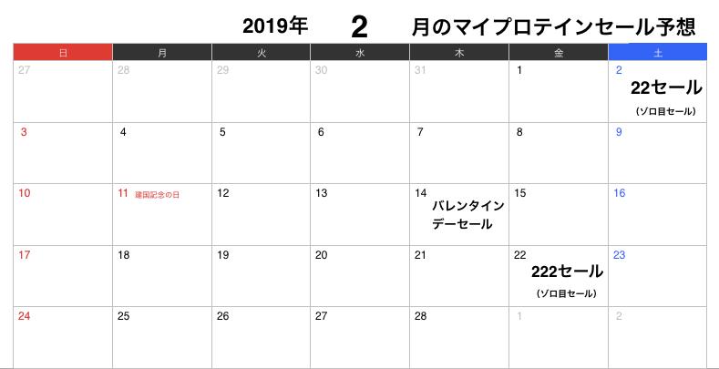 2019年2月のマイプロテインセール予想カレンダー