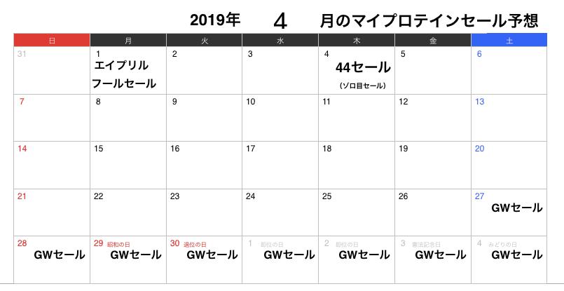 2019年4月のマイプロテインセール予想
